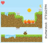 pixel art style game level...   Shutterstock .eps vector #373162594