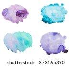 set of watercolor blot  drop ... | Shutterstock . vector #373165390