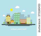 urban landscape flat style day | Shutterstock . vector #373180453