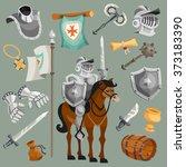 knights cartoon set   Shutterstock . vector #373183390