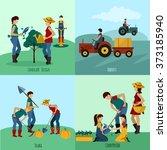 gardening people flat set   Shutterstock . vector #373185940