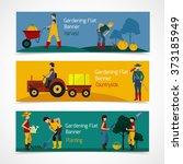 gardening people flat banners | Shutterstock . vector #373185949