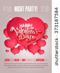 valentines day party flyer with ... | Shutterstock .eps vector #373187584