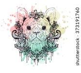 french bulldog graphic dog ... | Shutterstock .eps vector #373191760