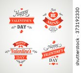 set of happy valentine day hand ... | Shutterstock . vector #373192330