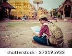 back side of traveler girl... | Shutterstock . vector #373195933