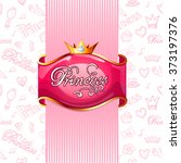pink princess poster with gold... | Shutterstock .eps vector #373197376