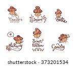 set of vector bakery logos.... | Shutterstock .eps vector #373201534