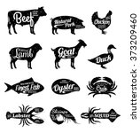 set of butchery and seafood logo | Shutterstock .eps vector #373209460