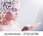 portrait of beautiful woman... | Shutterstock . vector #373216780