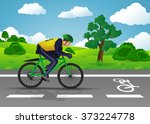 man on pedalboats traveling on... | Shutterstock . vector #373224778