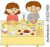 boy and girl cook   Shutterstock .eps vector #373227400
