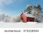 winter in new england. red farm ...