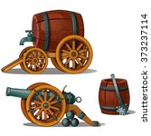 the barrel on the cart and gun... | Shutterstock .eps vector #373237114