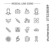 set of medical line icons.... | Shutterstock .eps vector #373238389