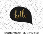Stock vector cute and modern greeting card poster template in black white and gold glitter speech bubble with 373249510