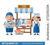 fish market with sellers and... | Shutterstock .eps vector #373250104