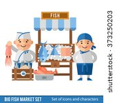 Fish market with sellers and seafood. Cartoon characters and scenery of the fish market. Sellers of fish and their showcase in a flat style.