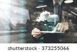 double exposure of hand showing ... | Shutterstock . vector #373255066