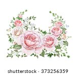 watercolor floral wreath with...   Shutterstock . vector #373256359