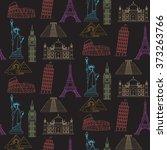 world landmarks vector seamless ... | Shutterstock .eps vector #373263766