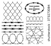 fence barbed and wire barbwire...   Shutterstock .eps vector #373273084