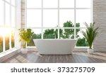 modern bright bathroom 3d render   Shutterstock . vector #373275709