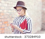young attractive student woman...   Shutterstock . vector #373284910