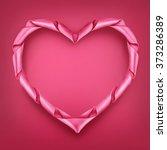 pink ribbon heart shaped frame... | Shutterstock .eps vector #373286389