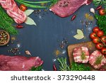 different types of meat. fresh... | Shutterstock . vector #373290448