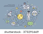 flat style  thin line business... | Shutterstock .eps vector #373291669