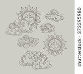 vector set of celestial symbols ... | Shutterstock .eps vector #373295980