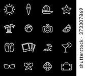 vector line summer icon set.