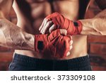 Muscular Fighter Kickbox  With...