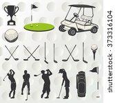 golf player silhouette  | Shutterstock .eps vector #373316104