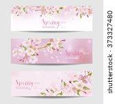 spring flower banner set  ... | Shutterstock .eps vector #373327480