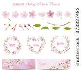 cherry blossom spring... | Shutterstock .eps vector #373327483