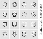 vector line shield icon set. | Shutterstock .eps vector #373340380