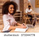 young beautiful afro american...   Shutterstock . vector #373344778