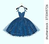 Blue Party Dress. Vector...
