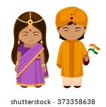 indians in national dress with... | Shutterstock .eps vector #373358638