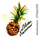 hipster juicy pineapple . hand...   Shutterstock . vector #373361950