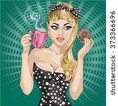 pop art woman portrait with... | Shutterstock .eps vector #373366696