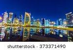 Stock photo doha skyline night shot 373371490