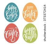 happy easter egg lettering.... | Shutterstock .eps vector #373372414