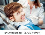 little boy at the dental office.... | Shutterstock . vector #373374994