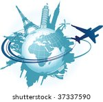 travel background. all elements ... | Shutterstock .eps vector #37337590