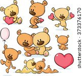 cute valentines teddy bear  ... | Shutterstock .eps vector #373376170