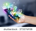 smartphone with finance and... | Shutterstock . vector #373376938