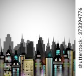 night city panorama  vector... | Shutterstock .eps vector #373394776